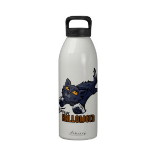 Happy Halloween Cat and Mouse Reusable Water Bottle