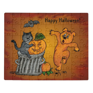 Happy Halloween! Cat Bat Dog and Spider Jigsaw Puzzle