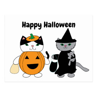 Happy Halloween Cats Pumpkin Witch Personalise Postcard