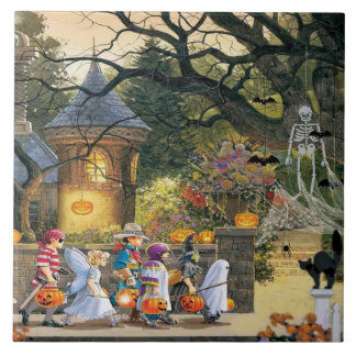 Happy Halloween Children Ceramic Tile
