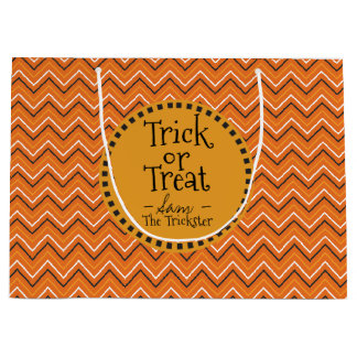 Happy Halloween Colors. Chevron. Trick Or Treat. Large Gift Bag