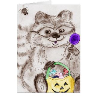 Happy Halloween Costumed Raccoon Card