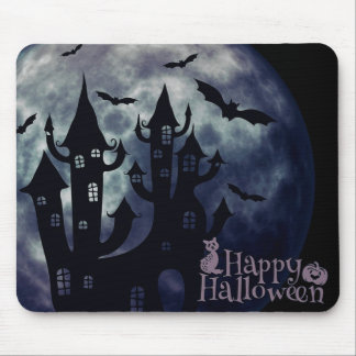 Happy Halloween Creepy Bats and House Mousepad