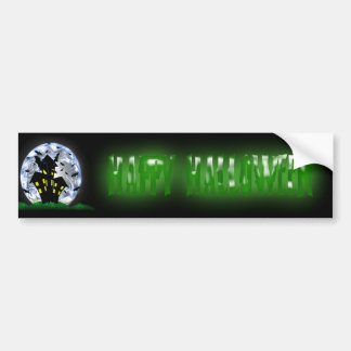 Happy Halloween Creepy Haunted House Bumper Sticke Car Bumper Sticker