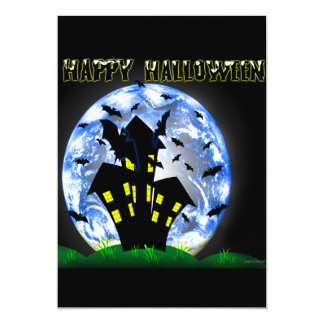 "Happy Halloween Creepy Haunted House Invitation 5"" X 7"" Invitation Card"
