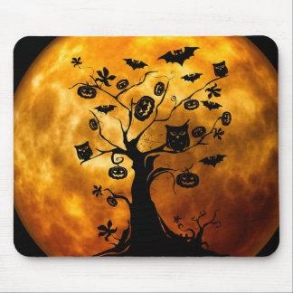 Happy Halloween Creepy Owls on a Tree Mousepad
