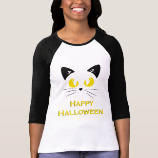 Happy Halloween Cute Cat Face T-Shirt
