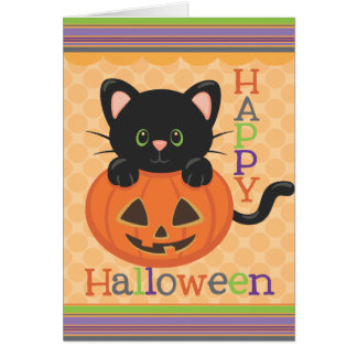 Happy Halloween Cute Cat Jack o' Lantern Card