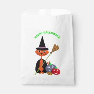 Happy Halloween Cute Cat Witch Favour Bag