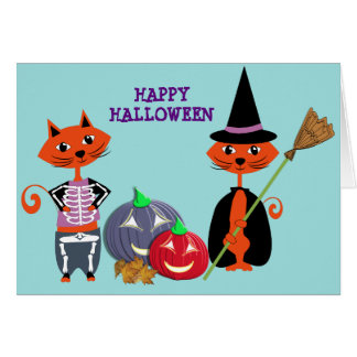 Happy Halloween Cute Cats Card