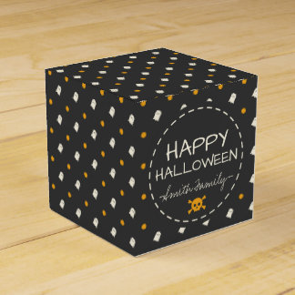 Happy Halloween. Cute Ghost Pumpkin Polka Dots. Favour Box