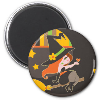 """""""Happy Halloween"""" Cute Red Haired Witch Magnets"""