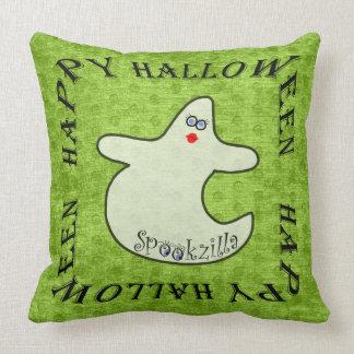 Happy Halloween Diva Ghost, Spookzilla on Green Throw Cushions