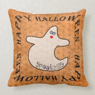 Happy Halloween Diva Ghost, Spookzilla on Orange Cushions