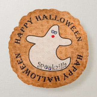 Happy Halloween Diva Ghost, Spookzilla on Orange Round Cushion