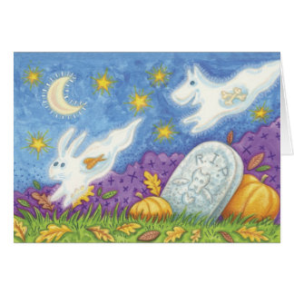 Happy Halloween dog ghost chasing rabbit ghost Greeting Card