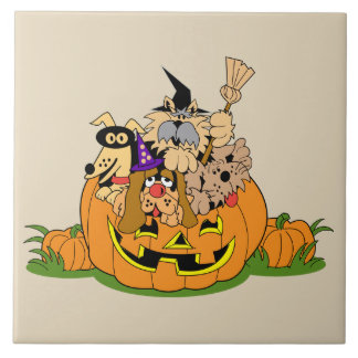 Happy Halloween Dogs In Pumpkin Ceramic Tile