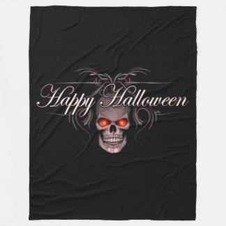 Happy Halloween Evil Skull Fleece Blanket