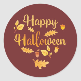 Happy Halloween Fall Leaves Stickers