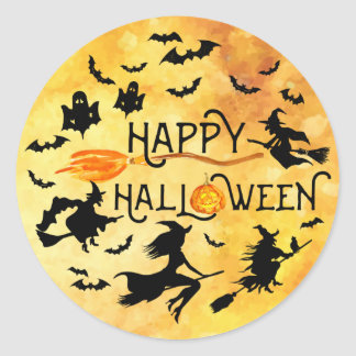 HAPPY HALLOWEEN, Flying Witches, Bats & Ghosts Classic Round Sticker