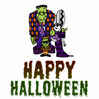 Happy Halloween Frankenstein Family Photo Sculpture Magnet