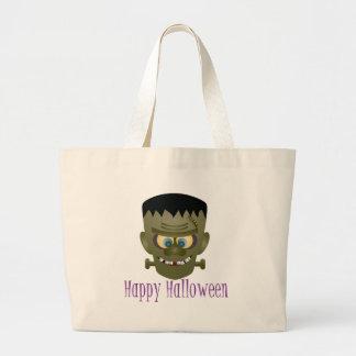 Happy Halloween Frankenstein Monster Illustration Large Tote Bag