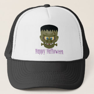Happy Halloween Frankenstein Monster Illustration Trucker Hat
