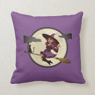 Happy Halloween Friendly Witch Throw Pillow