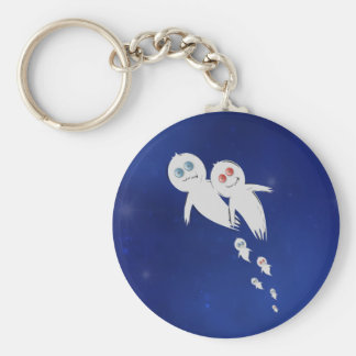 Happy Halloween from a Ghost Family Basic Round Button Key Ring
