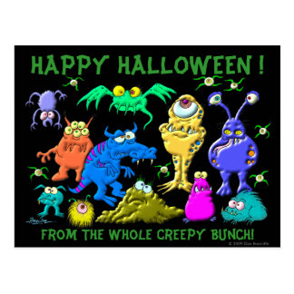 Happy Halloween Fron The Whole Creepy Bunch Postcard