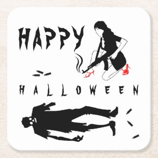 Happy Halloween Funny chic and unique custom Square Paper Coaster