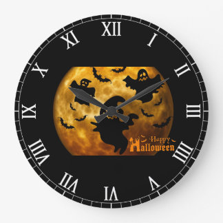 Happy Halloween Ghost and Bats Large Clock