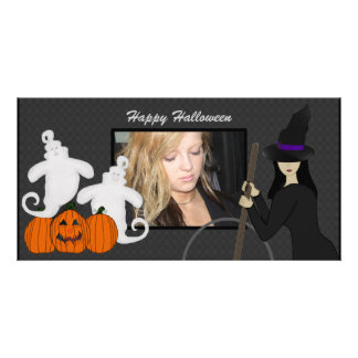 Happy Halloween Ghost and Witch Photo Cards