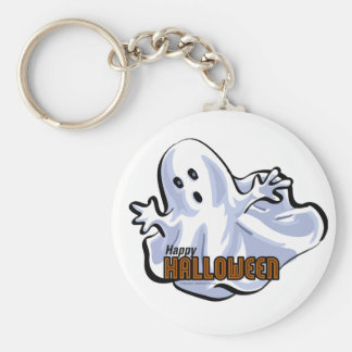 Happy Halloween Ghost Basic Round Button Key Ring