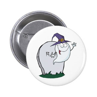 Happy Halloween Ghost Flying Next To Tombstone Pinback Button