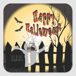 Happy Halloween Ghost in a Graveyard Square Sticker