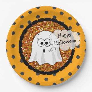Happy Halloween Ghost Orange Paper Plates