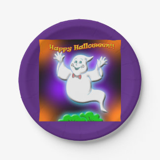Happy Halloween ghost paper plates. 7 Inch Paper Plate