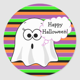 Happy Halloween Ghost Purple Stickers