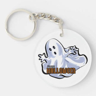 Happy Halloween Ghost Single-Sided Round Acrylic Key Ring