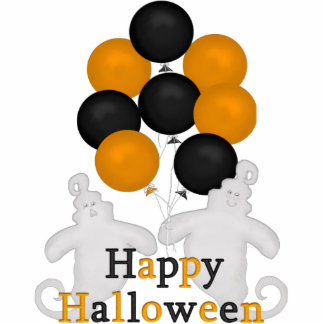 Happy Halloween Ghost with Balloons Standing Photo Sculpture