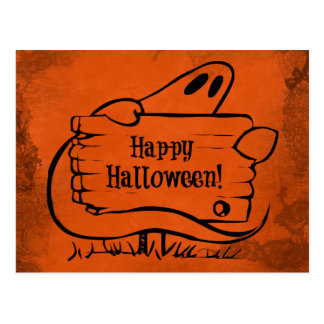 Happy Halloween Ghost with Sign Post Cards