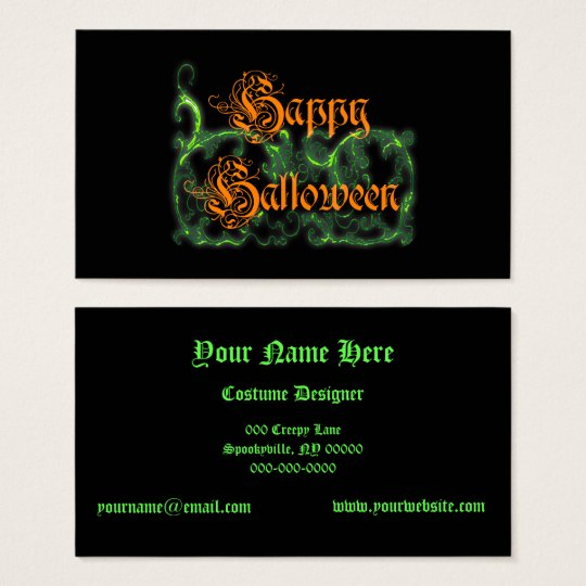 Happy Halloween Ghostly Green Scrolls Business Card