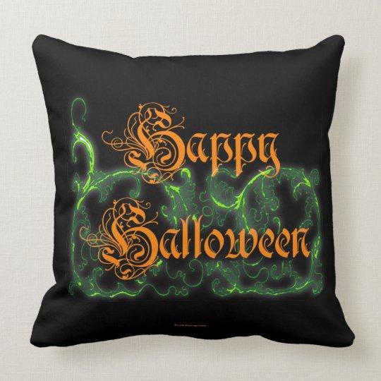 Happy Halloween Ghostly Green Scrolls Cushion