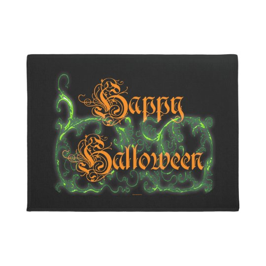 Happy Halloween Ghostly Green Scrolls Doormat