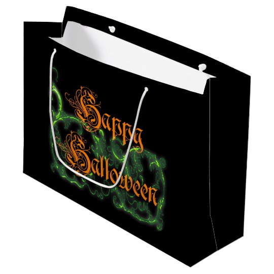 Happy Halloween Ghostly Green Scrolls Large Gift Bag