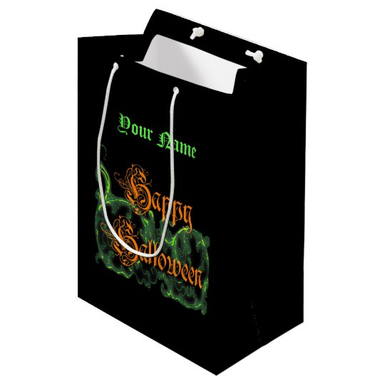 Happy Halloween Ghostly Green Scrolls Medium Gift Bag