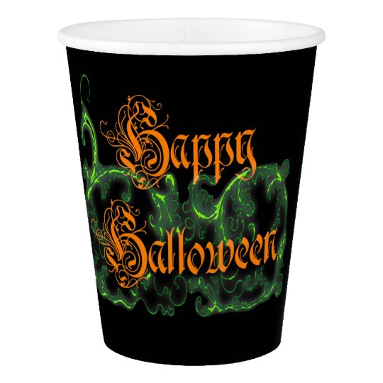 Happy Halloween Ghostly Green Scrolls Paper Cup