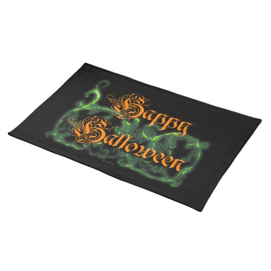 Happy Halloween Ghostly Green Scrolls Placemat