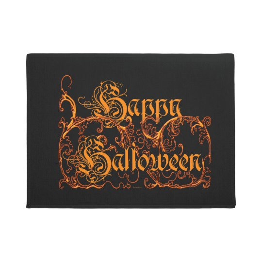Happy Halloween Ghostly Orange Scrolls Doormat